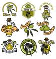 set of olive oil labels design elements for logo vector image