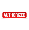 authorized red three-dimensional square button vector image vector image