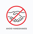 avoid handshakes line icon outline vector image vector image