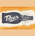 bottle with hand drawn lettering text beer here vector image vector image