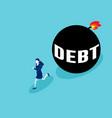 businesswoman run away from debt business debt vector image
