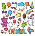 Carnival party kawaii set Cute cats decorations vector image vector image