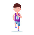 cartoon boy running a marathon vector image