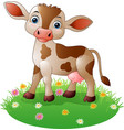 cartoon cow standing on grass vector image vector image