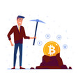 caucasian man mining crypto currency coins vector image