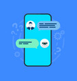 chatbot smartphone with user and robot chatting vector image vector image