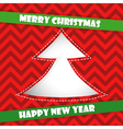 Christmas card with red Christmas tree vector image vector image