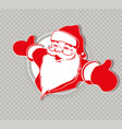 christmas silhouette of santa claus hands apart vector image