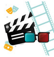 cinema clapper 3d glasses tickets and filmstrip vector image vector image
