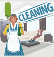 cleaning woman in big clean room vector image vector image