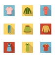 Clothes set icons in flat style Big collection of vector image vector image
