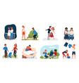 couple people loving activity set lovers walking vector image