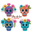 day of the dead masks with floral decoration vector image vector image