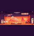 dinosaur skeleton in museum history exhibition vector image