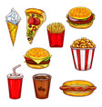 fast food sketch set with burger drink dessert vector image vector image