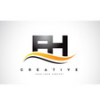 fh f h swoosh letter logo design with modern vector image vector image