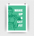 fitness motivation poster retro typographic quote vector image vector image