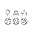 food line icons set delicious dishes and desserts vector image vector image