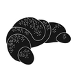 French croissant icon in black style isolated on vector image