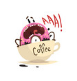 frightened donut drowning in cup of coffee vector image vector image