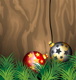 Glossy ball Christmas on wooden vector image vector image