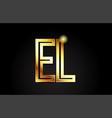gold alphabet letter el e l logo combination icon vector image vector image