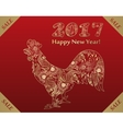 Golden rooster on red background vector image