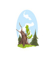 hand drawn landscape young branches growing from vector image vector image