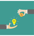 Hands with idea bulb and money coin Exchanging vector image vector image