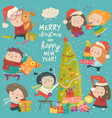 happy cartoon children with christmas decor merry vector image vector image