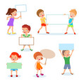 happy kids with paper cards and banners cartoon vector image