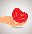 Happy womens day heart in hand vector image