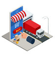 isometric online shopping concept delivery home vector image