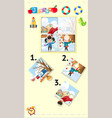 jigsaw puzzle game with kids in winter vector image