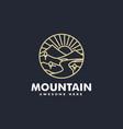 logo mountain line art style vector image