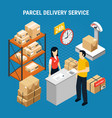 mail delivery isometric composition vector image vector image