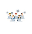 men and women working in a call center support vector image vector image