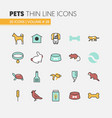 pets linear thin line icons set with dog cat vector image vector image