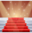 Photorealistic Stairs with Red Carpet and vector image