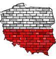 Poland map on a brick wall vector image vector image