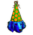 pug dog with a funny party whistle blowing vector image vector image
