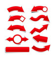 red paper arrow stickers with shadows vector image