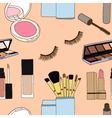 Seamless of makeup brushes in cup and cosmetics vector image