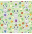 Seamless pattern Easter Bunnies with gift boxes vector image vector image