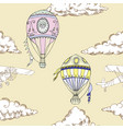 seamless pattern with air balloons and airplanes vector image vector image