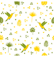 Seamless pattern with hummingbird and leaves Cute vector image vector image