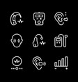 set line icons of hearing aid vector image vector image