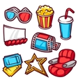 Set of movie elements and cinema objects in vector image vector image