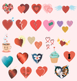 Set of twenty four different colorful hearts vector image vector image
