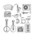 set professional instruments to play in the music vector image vector image